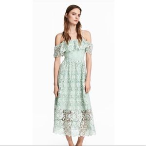 NWT! H&M Off the Shoulder Lace Dress Mint Green